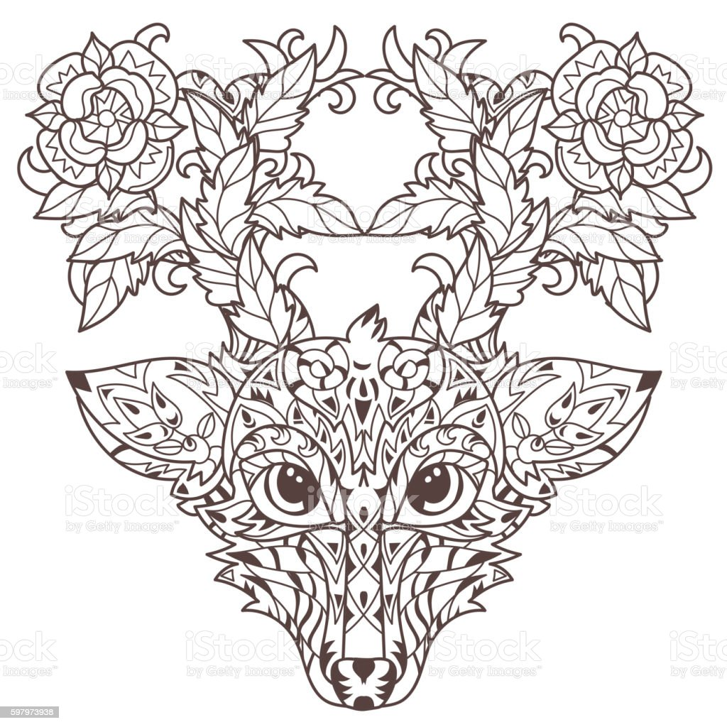 Hand Drawn Doodle Outline Deer Head Stock Vector Art & More Images ...