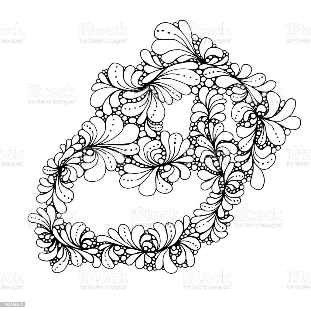 Hand drawn doodle outline magic line art element with floral royalty-free hand drawn doodle outline magic line art element with floral stock vector art & more images of abstract