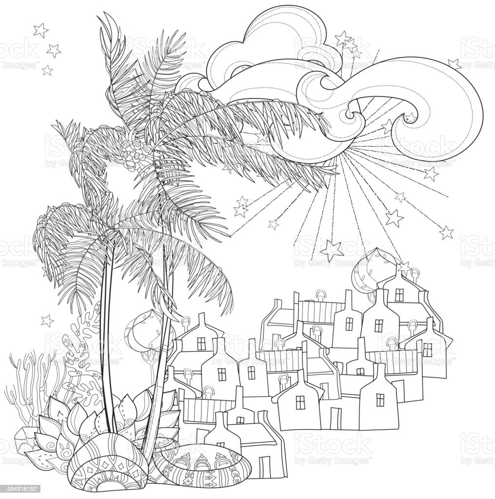 hand drawn doodle outline palm tree stock vector art 534318152