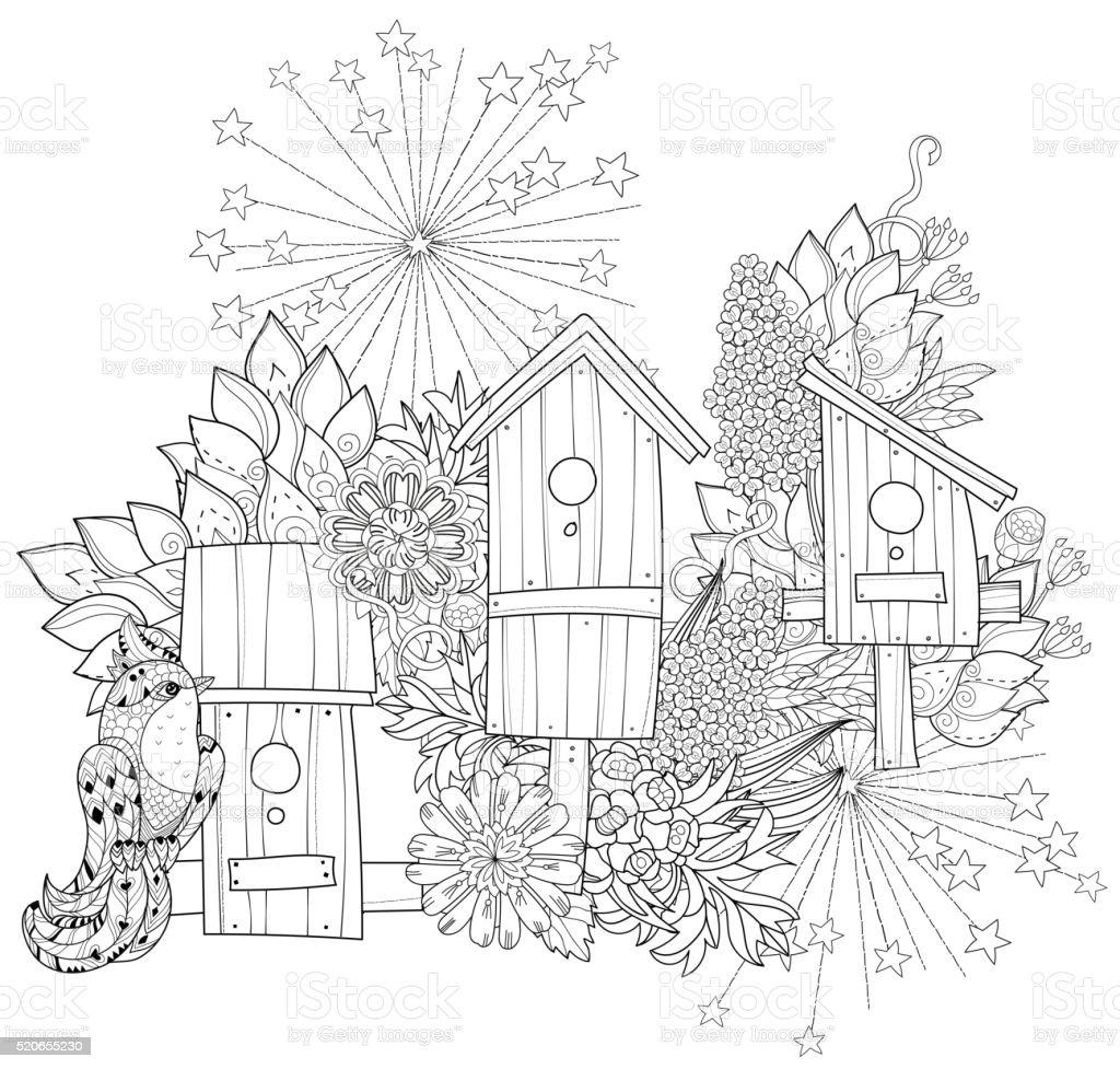 Hand drawn doodle outline spring nesting box vector art illustration