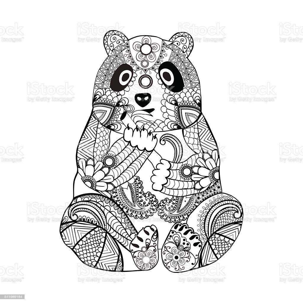 手描きの落書きのパンダ塗り絵の本大人 1 名様 いたずら書きのベクター