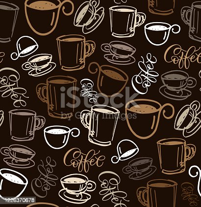 istock Hand drawn doodle pattern background - coffee time. Coffee cup texture. 1226370678