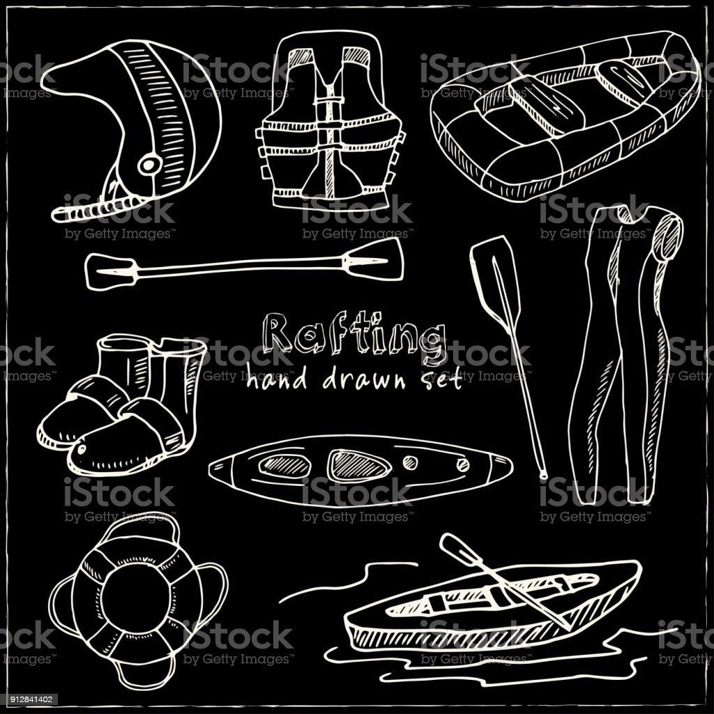 Hand drawn doodle rafting set vector art illustration
