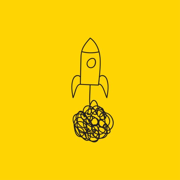 hand gezeichnet doodle rakete abheben - anfang stock-grafiken, -clipart, -cartoons und -symbole