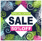 Hand drawn doodle sale banner with palm tree leaves. Sale banner