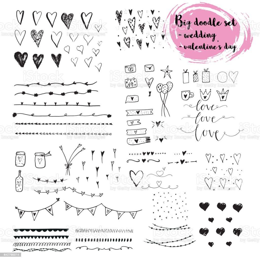 Doodle dessiné main mis sur l'amour et des sentiments. doodle dessiné main mis sur lamour et des sentiments vecteurs libres de droits et plus d'images vectorielles de a la mode libre de droits
