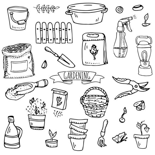 Hand drawn doodle set of Gardening icons. Vector illustration set. vector art illustration