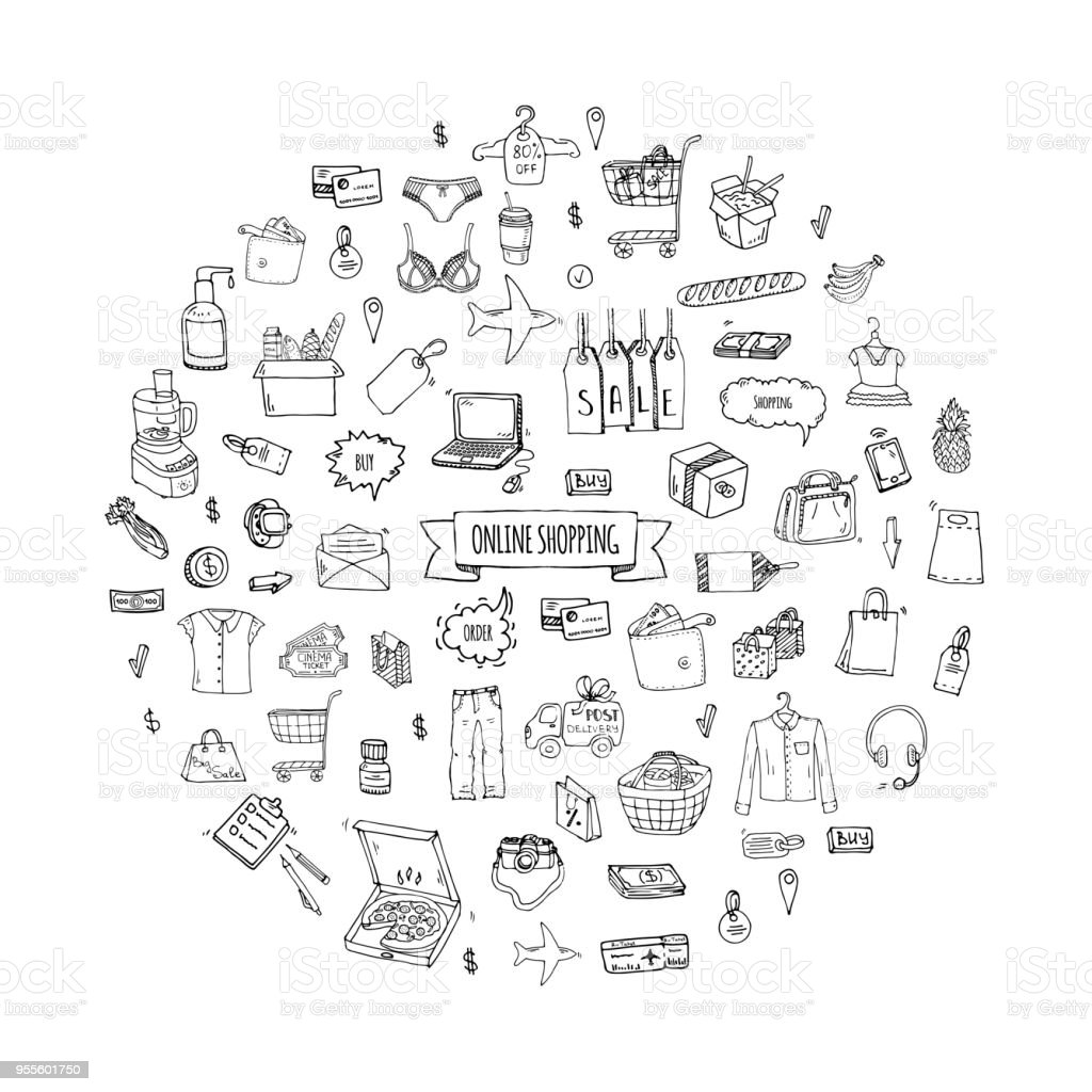 Hand drawn doodle set of Online shopping icons. vector art illustration