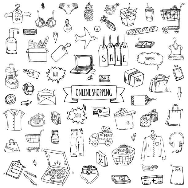 Hand drawn doodle set of Online shopping icons. Vector illustration set. vector art illustration