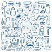 Hand drawn doodle set with bakery elements