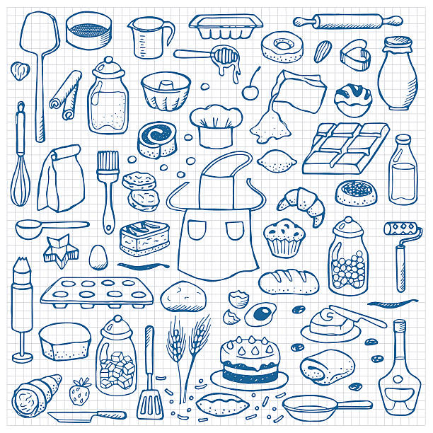 Hand drawn doodle set with bakery elements Vector illustration for backgrounds, web design, design elements, textile prints, covers  cooking drawings stock illustrations