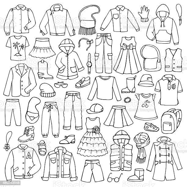 Hand drawn doodle set with childish clothes vector id489243548?b=1&k=6&m=489243548&s=612x612&h=yvgkkpbthxovjpgfdtg5bjaqxqc qdtdt3gvuijwynw=