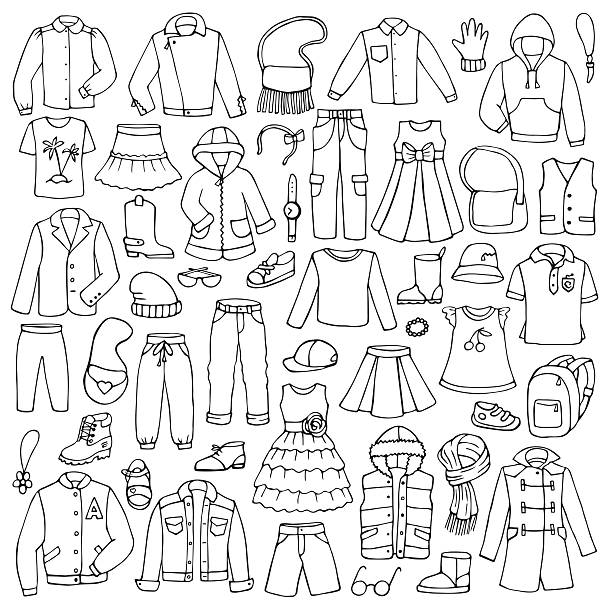 hand drawn doodle set with childish clothes - shoes fashion stock illustrations, clip art, cartoons, & icons