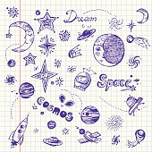 Hand drawn doodle set with space elements: stars, planets, night