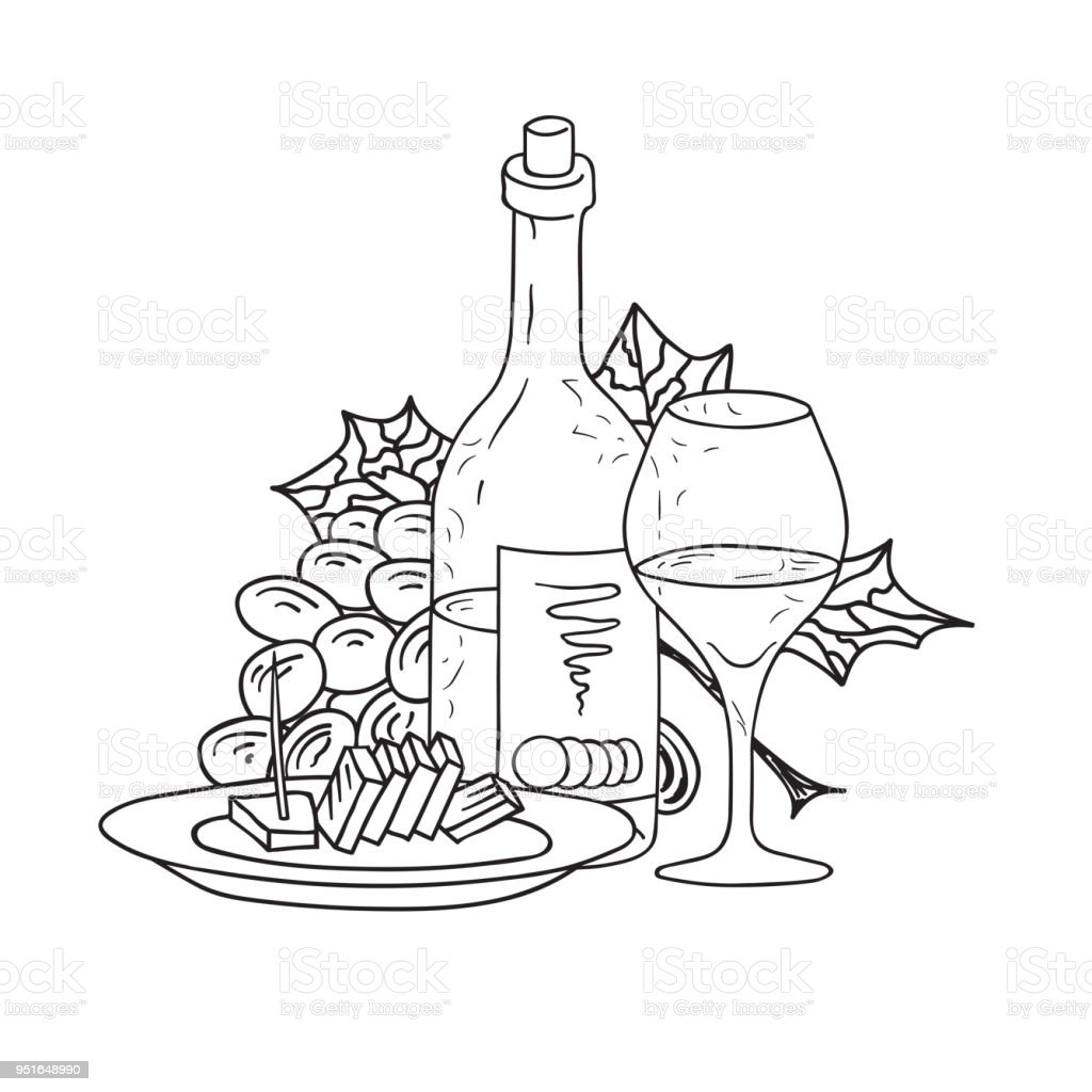 hand drawn doodle sketch line art vector illustration of bottle of Wine Glass hand drawn doodle sketch line art vector illustration of bottle of wine wineglass bunch of grape and plate of cheese emblem poster banner black outline