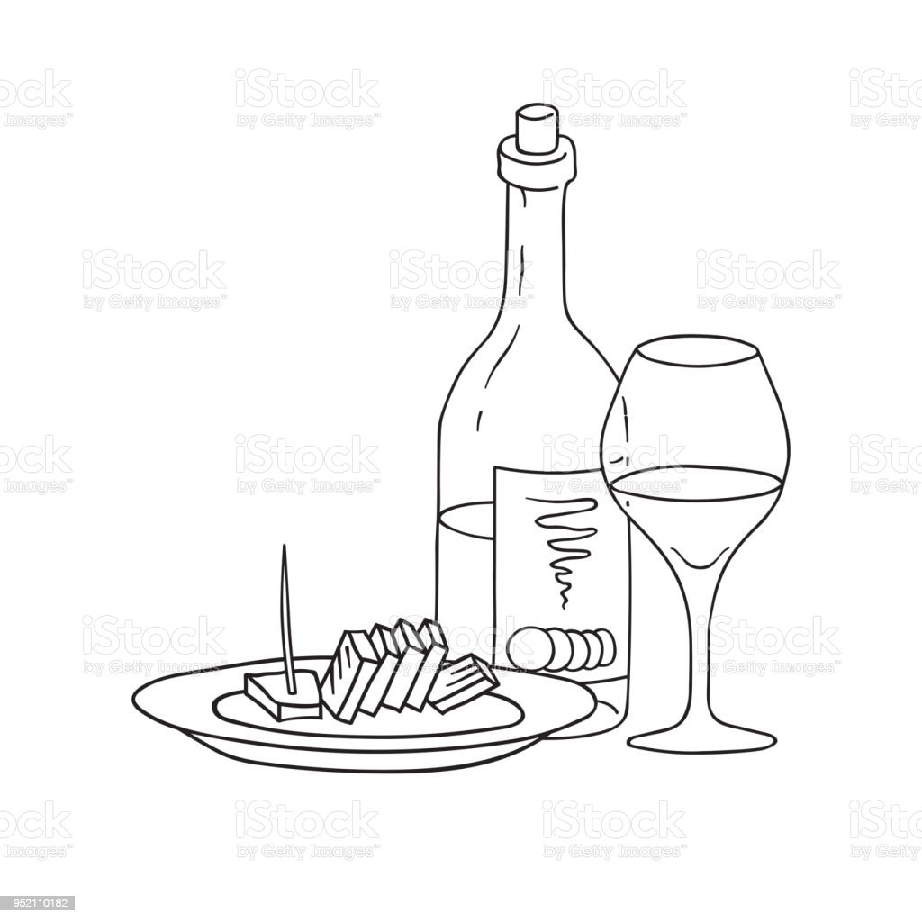 hand drawn doodle sketch line art vector illustration of bottle of Merlot Red Wine hand drawn doodle sketch line art vector illustration of bottle of wine wineglass and plate of cheese emblem poster banner black outline design element