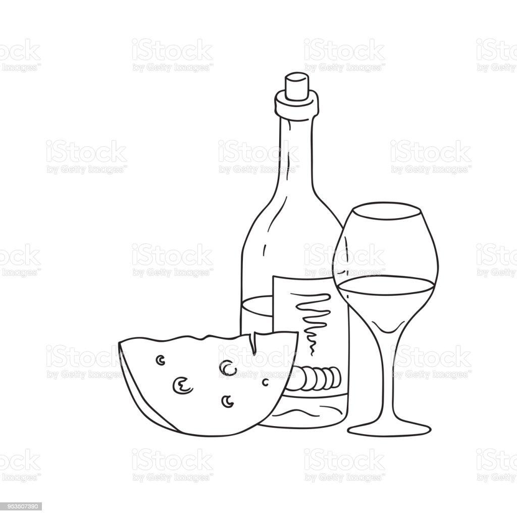 hand drawn doodle sketch line art vector illustration of bottle of Rose Wine hand drawn doodle sketch line art vector illustration of bottle of wine wineglass and wedge of cheese emblem poster banner black outline design element