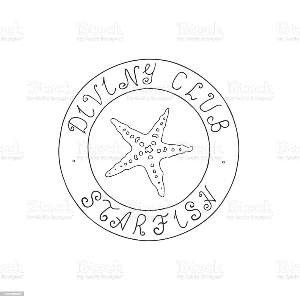 Hand Drawn Doodle Sketch Line Art Vector Illustration of Stamp with Sea Asteroidea and Diving Club Starfish Lettering. Unique Black Outline Design Element hand drawn doodle sketch line art vector illustration of stamp with sea asteroidea and diving club starfish lettering unique black outline design element - stockowe grafiki wektorowe i więcej obrazów grafika wektorowa royalty-free