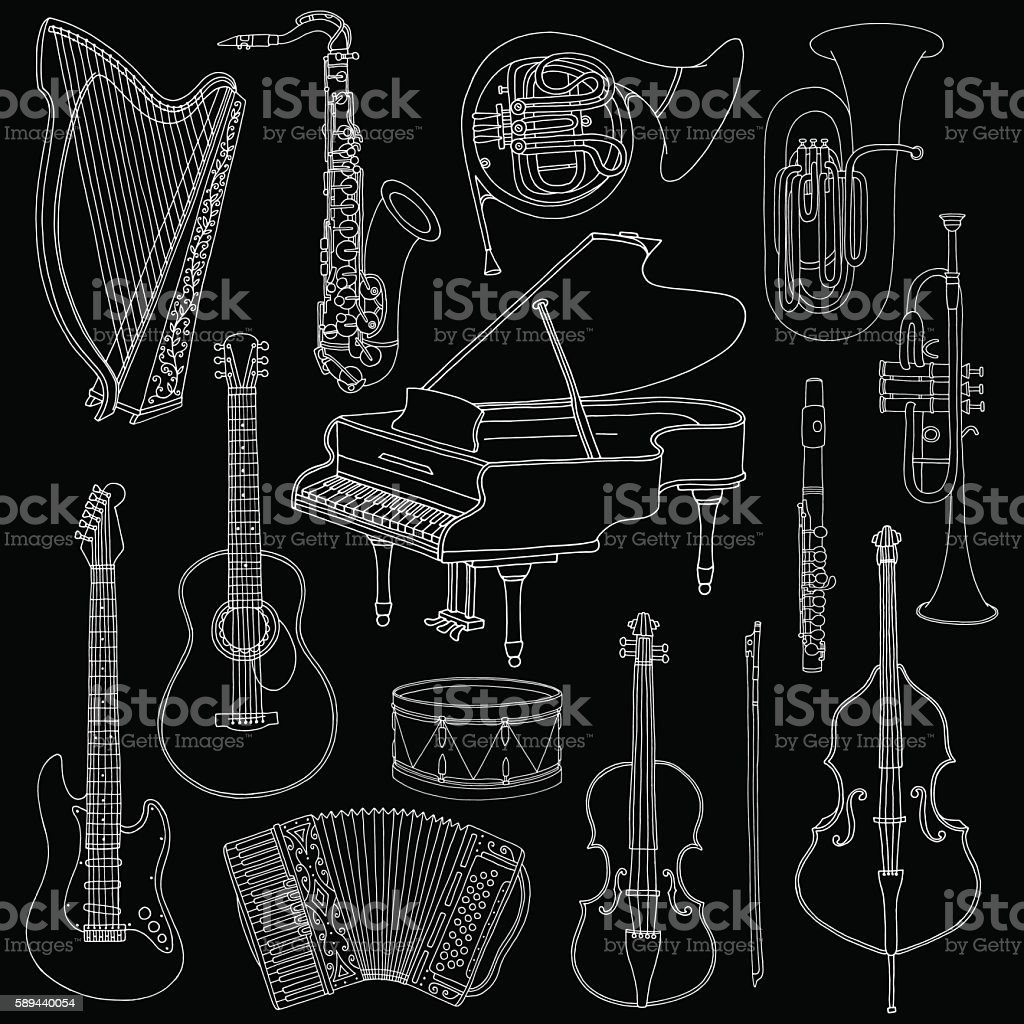 Hand drawn doodle, sketch musical instruments. Vector icons set vector art illustration