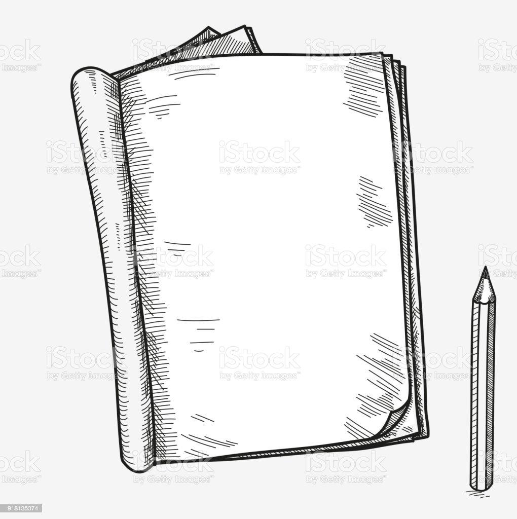 Hand Gezeichnet Doodle Skizze Geöffnet Notebook Klare Seite Vorlage ...