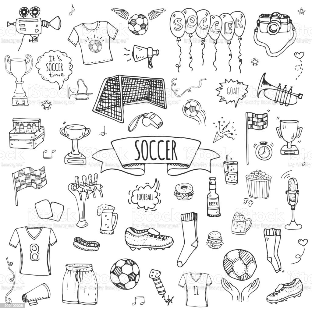 Hand drawn doodle Soccer set vector art illustration