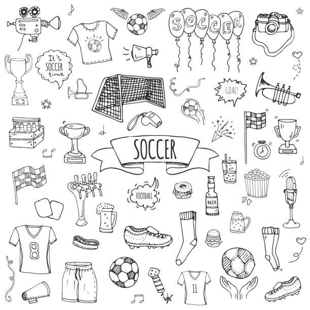 Hand drawn doodle Soccer set vector art illustration