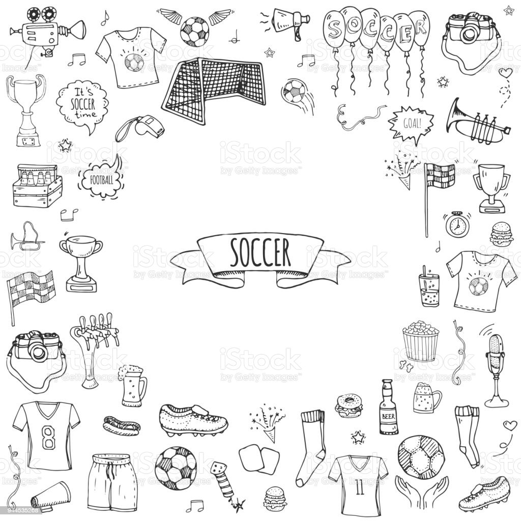 Hand drawn doodle Soccer set, Vector illustration, Football vector art illustration