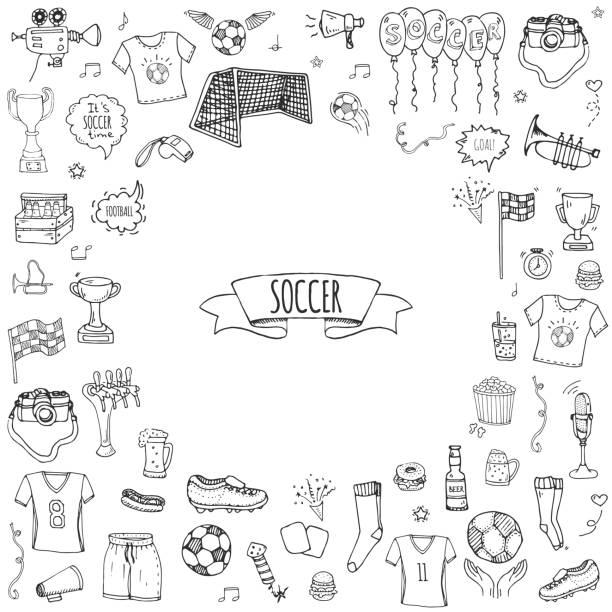 Hand drawn doodle Soccer set, Vector illustration, Football vector art illustration