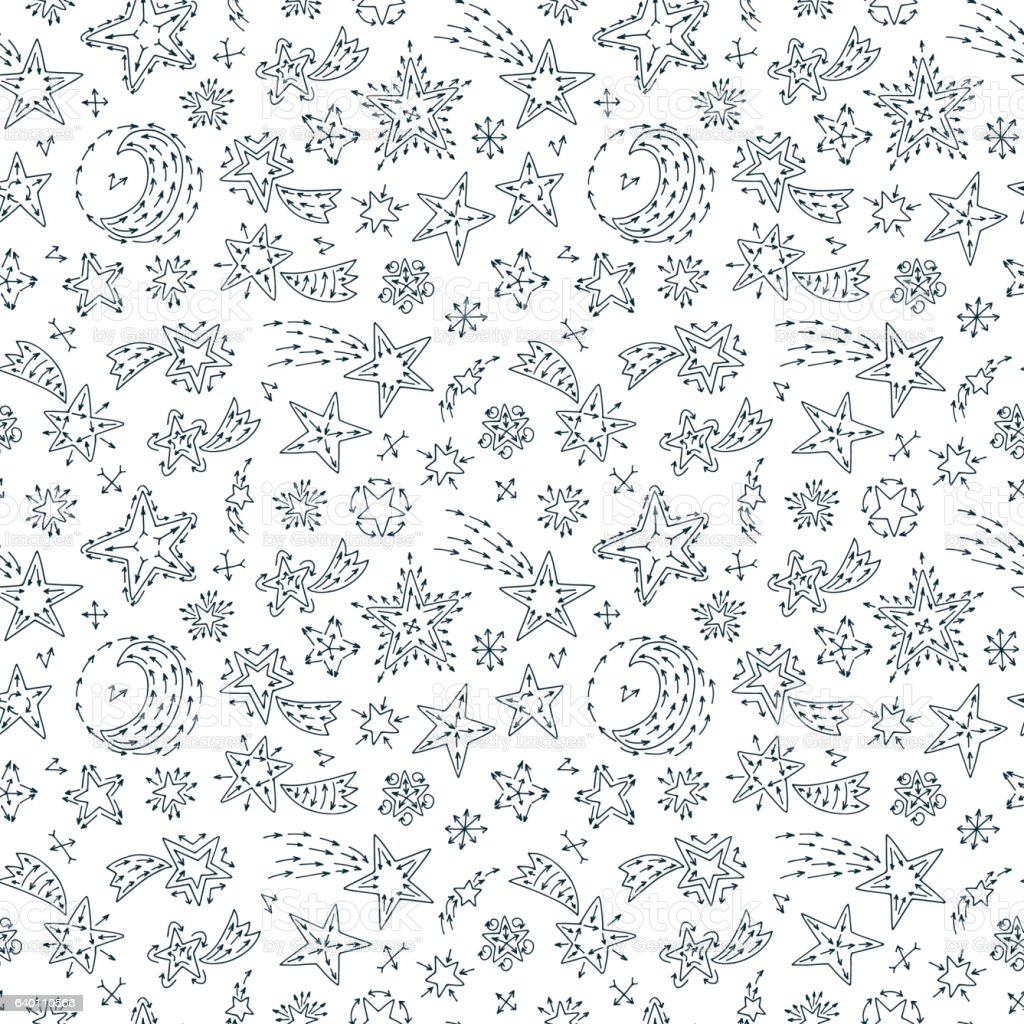 hand drawn doodle stars comets seamless pattern starry sky