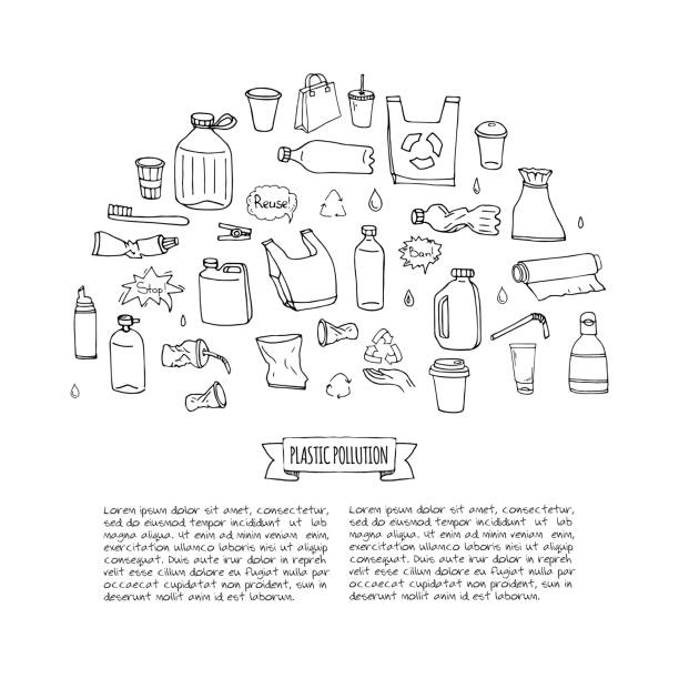 Hand drawn doodle Stop plastic pollution icons set vector art illustration