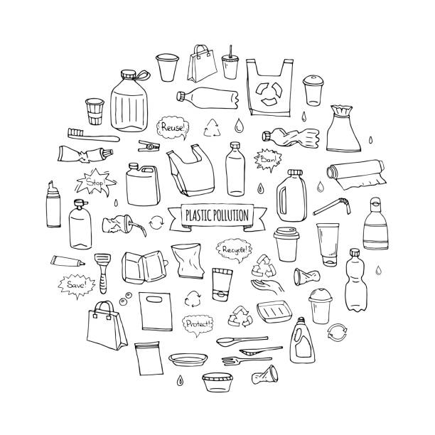 Hand drawn doodle Stop plastic pollution icons set Hand drawn doodle Stop plastic pollution icons set Vector illustration sketchy symbols collection Cartoon concept elements Bag Bottle Recycle sign Package Disposal waste Contamination disposable dish plastic pollution stock illustrations