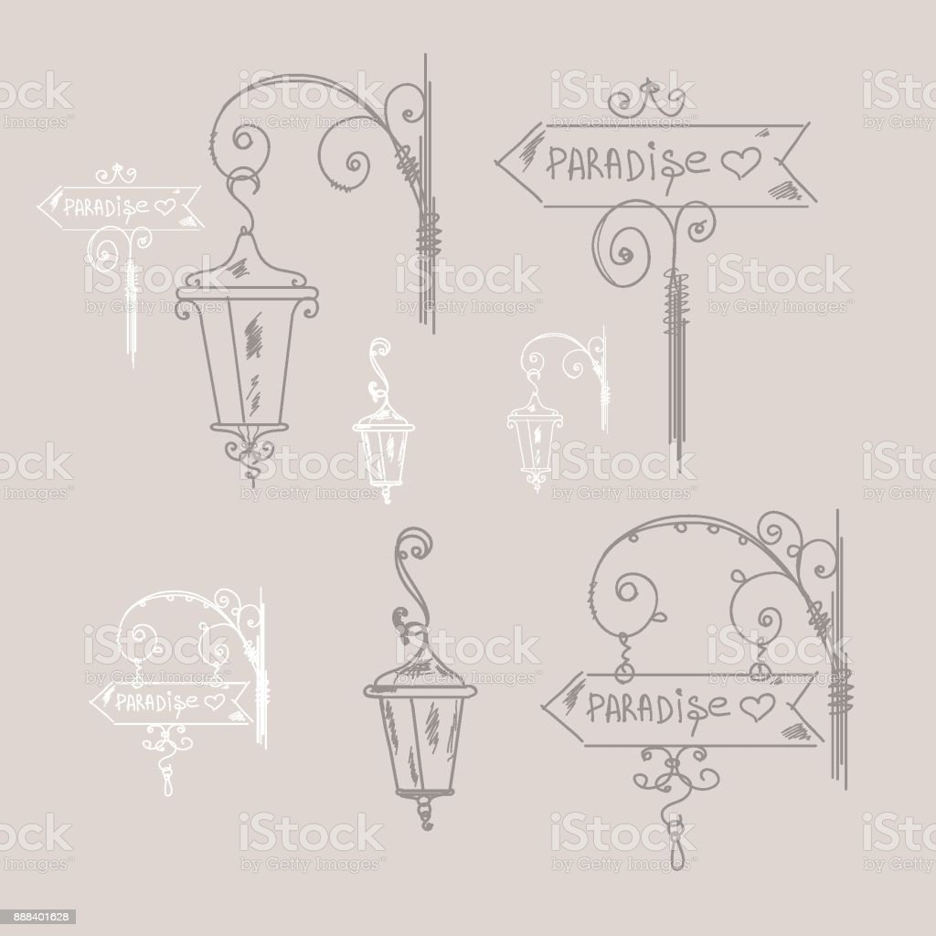 Hand drawn doodle street signs, sketch isolated vector illustration, hand drawn signs, street lamp, set of elements royalty-free hand drawn doodle street signs sketch isolated vector illustration hand drawn signs street lamp set of elements stock vector art & more images of ancient