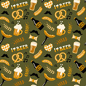 Hand drawn doodle style Beer and Food seamless pattern. Oktoberfest. Vector repeating wallpaper.