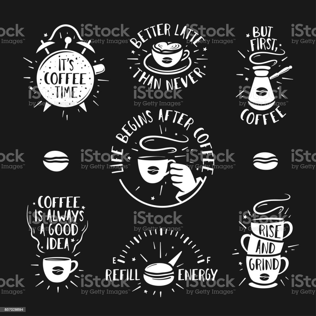 Hand drawn doodle style coffee posters set. Vector vintage illustration. vector art illustration