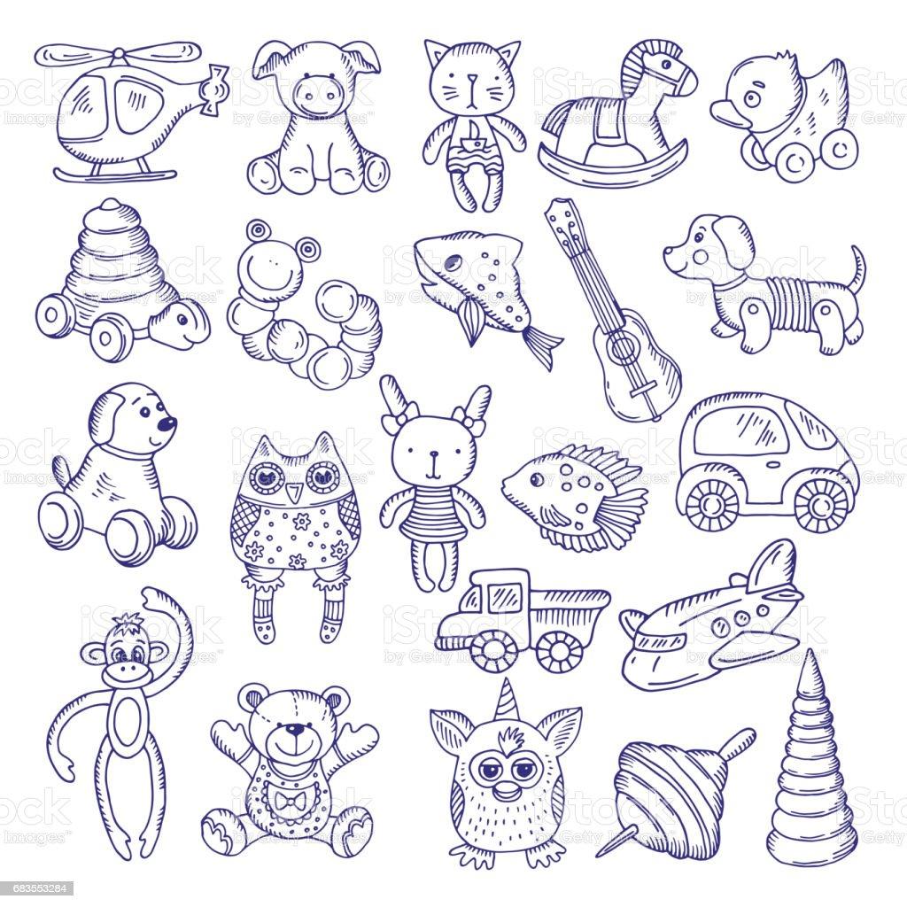 Ilustración de Dibujado A Mano Doodle Juguetes Para Los Niños Aislar ...