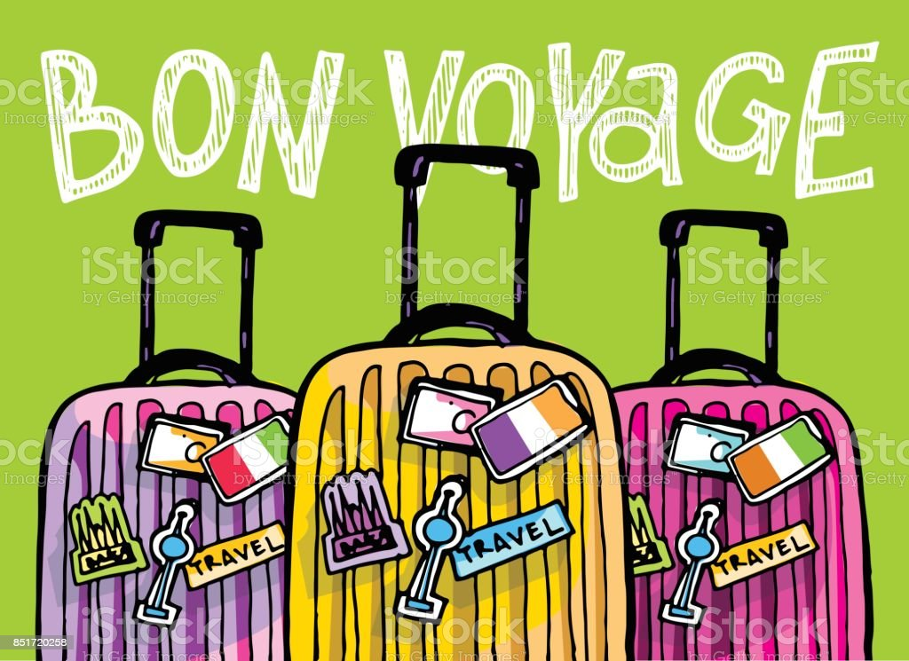 Illustration de voyage dessinés à la main doodle. Bon voyage - Illustration vectorielle