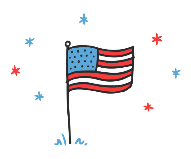 Hand drawn doodle USA flag vector art illustration