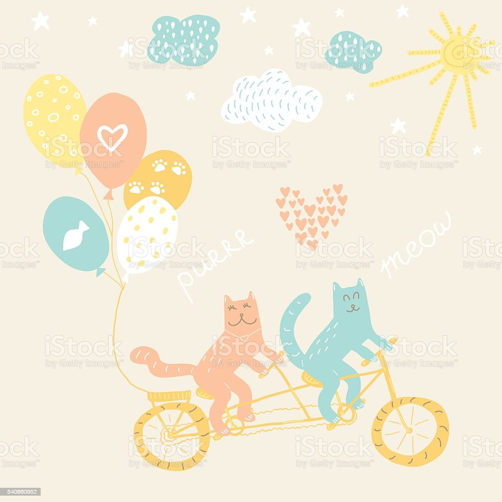 Hand drawn doodle vector illustration of cats riding a bicycle vector art illustration