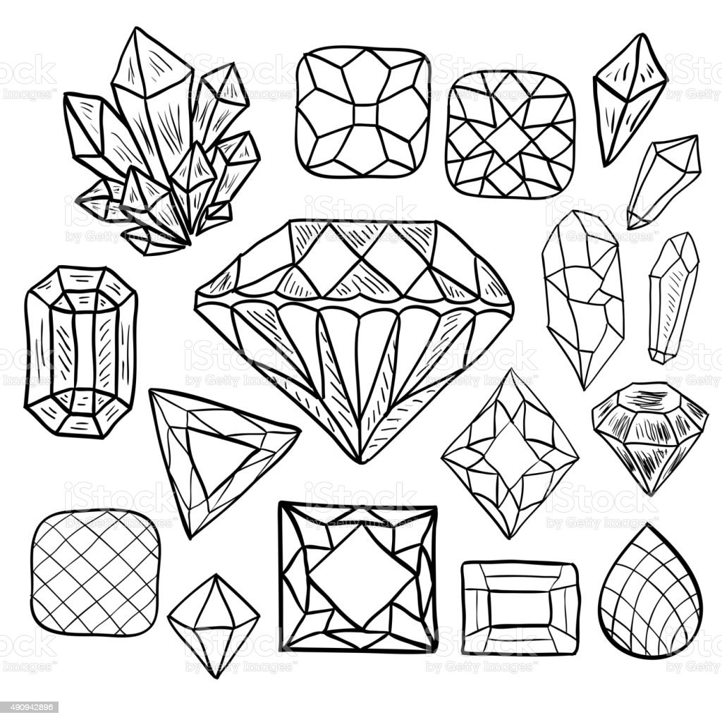 Hand drawn doodle vector jewelry set stock vector art for Gem coloring pages