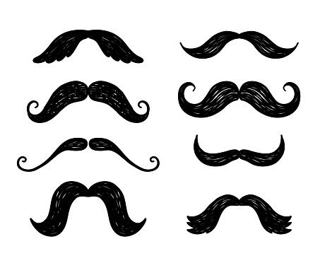 Hand drawn doodle vector moustache icon set