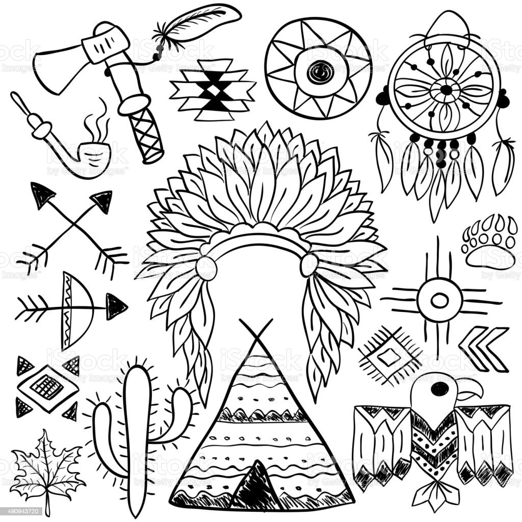 Hand Drawn Doodle Vector Native American Symbols Set Stock Illustration Download Image Now Istock
