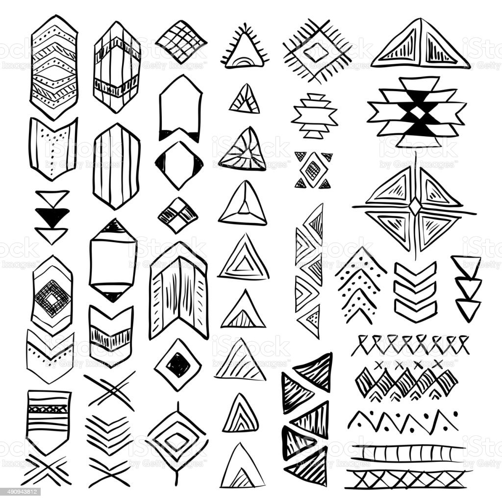 Hand Drawn Doodle Vector Native American Symbols Set Stock Vector