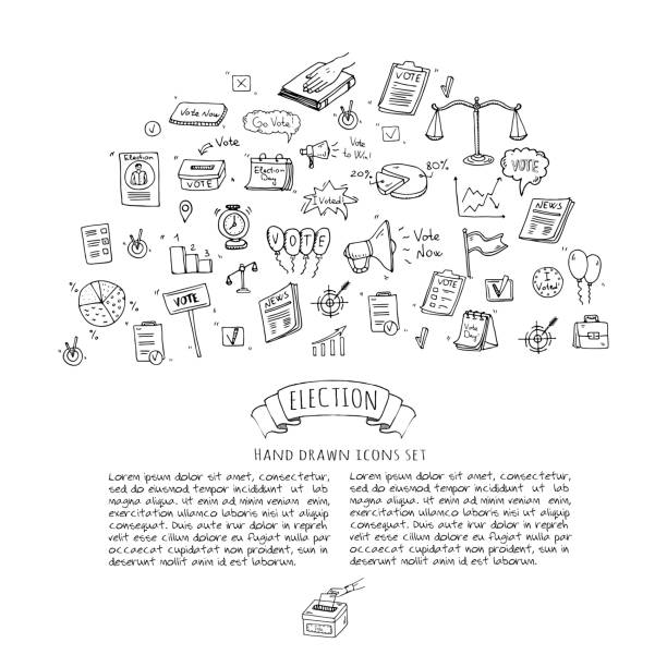 Hand drawn doodle Vote icons set. vector art illustration
