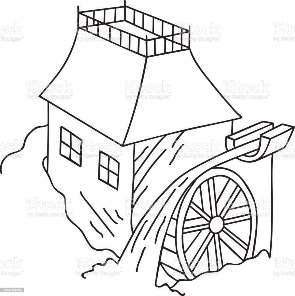El çizilmiş Doodle Su Değirmeni Kroki Vintage Tarzı Kırsal