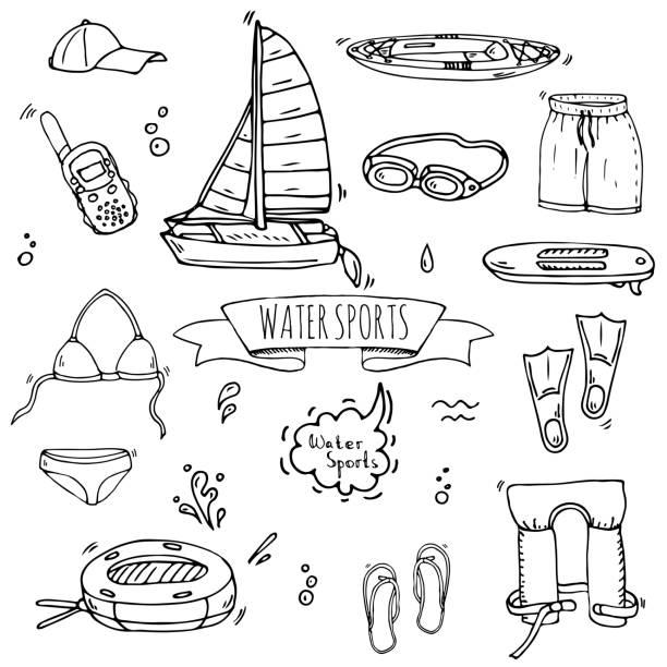 Hand drawn doodle Water sports icons set. Vector illustration, isolated symbols collection, Cartoon various elements: jetski, wakeboard, waterski, surfing, kayak, kitesurfing, paddle, parasailing vector art illustration