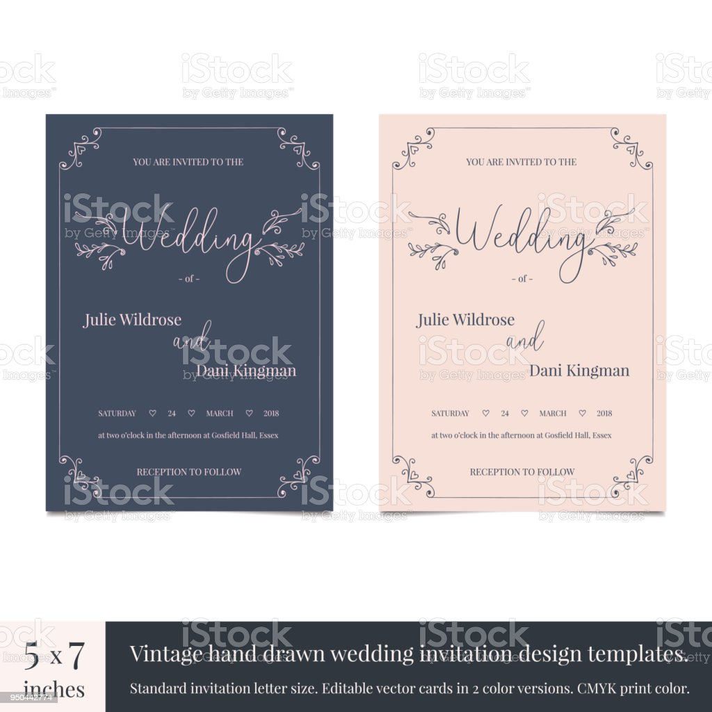 Hand Drawn Doodle Wedding Invitations Design Template Hand