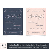 Hand drawn doodle wedding invitations design template. Hand drawn invitations wedding card design with vintage flourishes. Vintage wedding card design templates for marriage invitation letter format.
