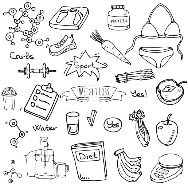 Hand drawn doodle Weight loss icons set vector art illustration