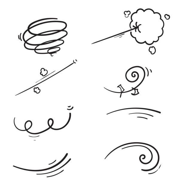 ręcznie rysowane doodle wind kolekcja ilustracja kreskówka styl manga wektor - ruch stock illustrations