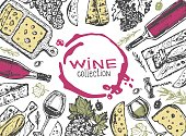 Wine illustration, grape and cheese